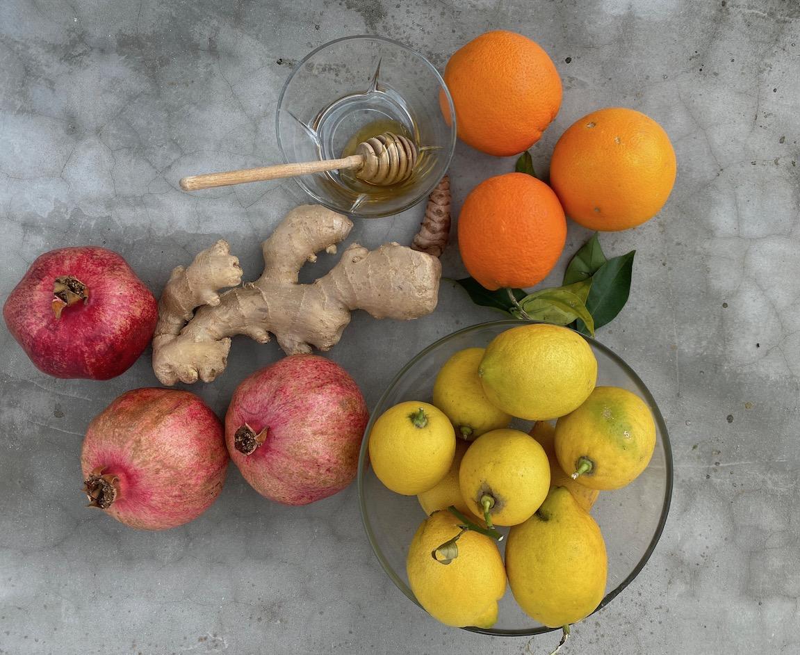 φρούτα, τζίντζερ και μέλι