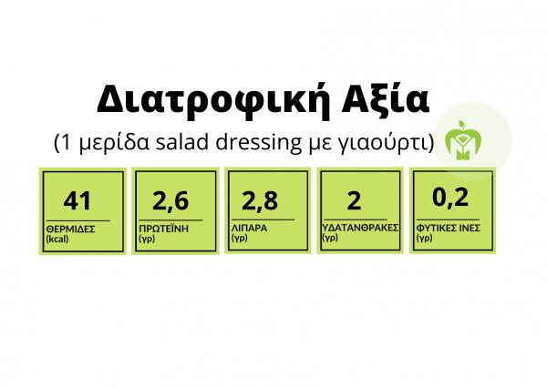 πίνακας διατροφικής αξίας dressing με γιαούρτι